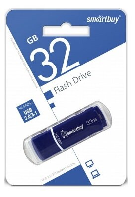 USB Flash Drive 32GB 3.0 Smart Buy Crown series Blue